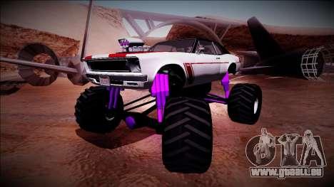 GTA 5 Declasse Tampa Monster Truck pour GTA San Andreas sur la vue arrière gauche