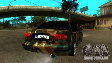 Certifié Honda Civic à partir du néerlandais TSK pour GTA San Andreas vue de droite