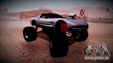 Chevrolet Corvette C5 Monster Truck pour GTA San Andreas sur la vue arrière gauche