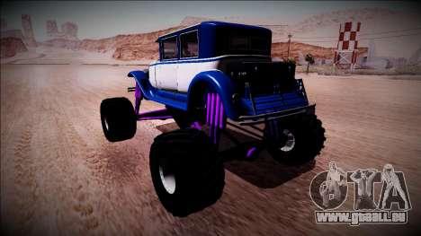 GTA 5 Albany Roosevelt Monster Truck für GTA San Andreas zurück linke Ansicht
