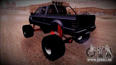GTA 5 Vapid Sadler Monster Truck pour GTA San Andreas sur la vue arrière gauche