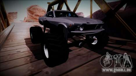 1970 Ford Mustang Boss Monster Truck pour GTA San Andreas vue intérieure