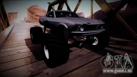 1970 Ford Mustang Boss Monster Truck für GTA San Andreas Innenansicht