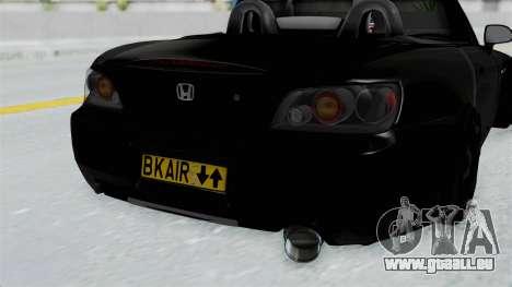 Honda S2000 Berlin Black für GTA San Andreas Rückansicht