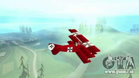 Fokker Dr1 triplane für GTA San Andreas zurück linke Ansicht