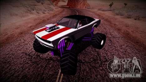 GTA 5 Declasse Tampa Monster Truck für GTA San Andreas Rückansicht