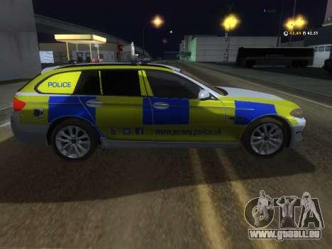 Jersey Police de la BMW 530d Touring pour GTA San Andreas sur la vue arrière gauche