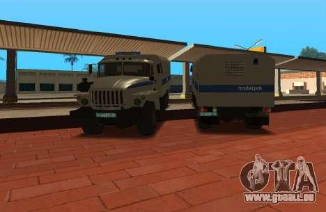 Ural 4320 riot-Polizei für GTA San Andreas zurück linke Ansicht
