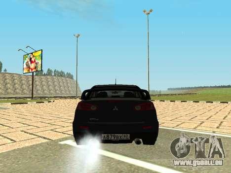 Mitsubishi Lancer Evolution X GVR Tuning pour GTA San Andreas sur la vue arrière gauche