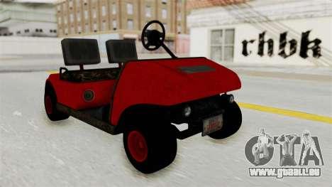 GTA 5 Gambler Caddy Golf Cart pour GTA San Andreas sur la vue arrière gauche