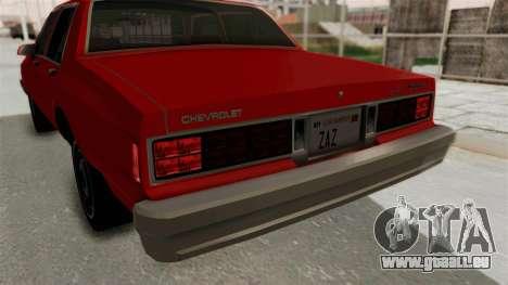 Chevrolet Caprice Classic 1986 v2.0 pour GTA San Andreas vue de dessous