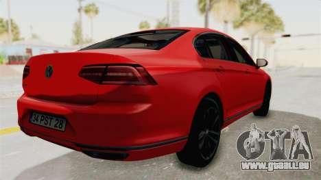 Volkswagen Passat B8 2016 Highline HQLM pour GTA San Andreas laissé vue