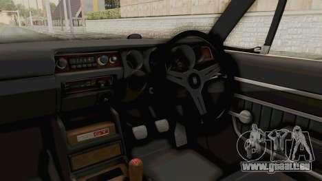 Nissan Skyline KPGC10 1971 pour GTA San Andreas vue intérieure
