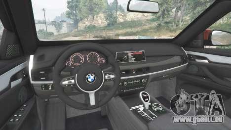 GTA 5 BMW X6 M (F16) v1.6 arrière droit vue de côté