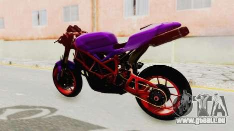 Ducati 1098 Nakedbike für GTA San Andreas zurück linke Ansicht