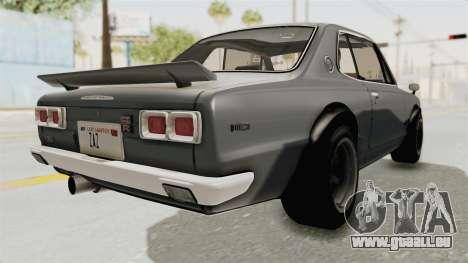 Nissan Skyline KPGC10 1971 pour GTA San Andreas sur la vue arrière gauche