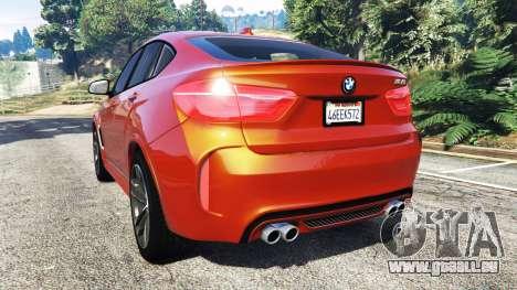 GTA 5 BMW X6 M (F16) v1.6 arrière vue latérale gauche