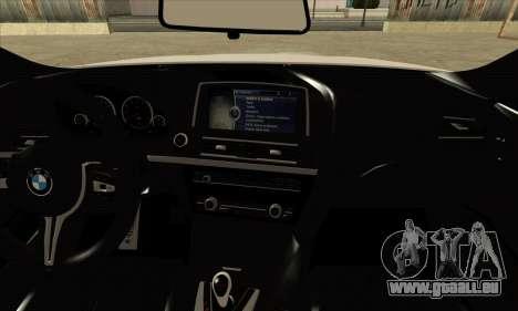 BMW M6 F13 Coupe pour GTA San Andreas vue arrière
