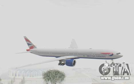 Boeing 777-300ER British Airways für GTA San Andreas zurück linke Ansicht