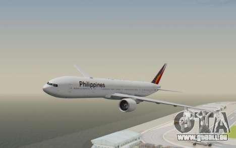 Boeing 777-300ER Philippine Airlines pour GTA San Andreas sur la vue arrière gauche