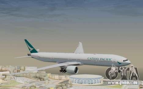Boeing 777-300ER Cathay Pacific Airways v3 pour GTA San Andreas sur la vue arrière gauche