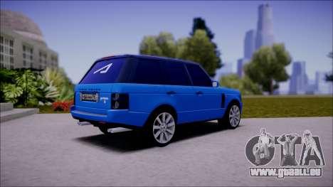 Land Rover Range Rover III (Pontorezka) pour GTA San Andreas sur la vue arrière gauche