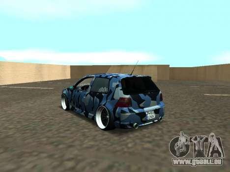 Volkswagen Golf MK4 R32 Position pour GTA San Andreas sur la vue arrière gauche