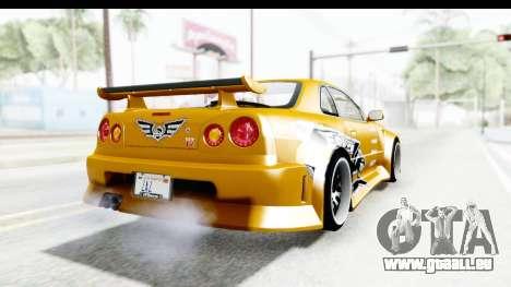 NFSU Eddie Nissan Skyline pour GTA San Andreas sur la vue arrière gauche