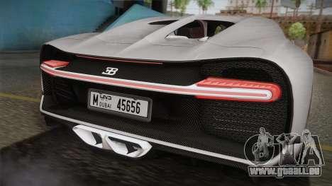 Bugatti Chiron 2017 v2.0 Dubai Plate für GTA San Andreas zurück linke Ansicht