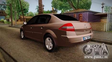 Renault Megane Sedan pour GTA San Andreas sur la vue arrière gauche