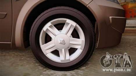 Renault Megane Sedan für GTA San Andreas Rückansicht