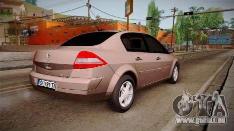 Renault Megane Sedan pour GTA San Andreas laissé vue