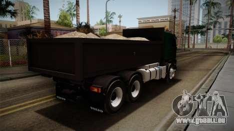 Volvo FMX dump Truck pour GTA San Andreas sur la vue arrière gauche