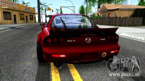 Mazda RX-7 Rocket Bunny pour GTA San Andreas sur la vue arrière gauche