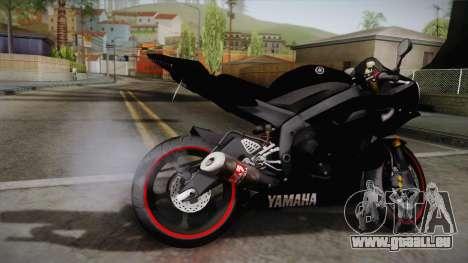 Yamaha YZF-R6 2008 pour GTA San Andreas laissé vue