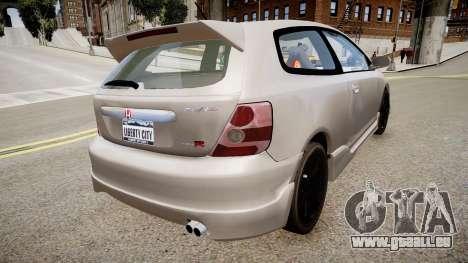 Honda Civic TypeR 2002 pour GTA 4 est une gauche