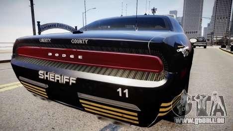 Dodge Challenger Liberty Sheriff 2010 pour GTA 4 Vue arrière de la gauche