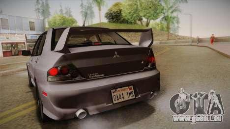 Mitsubishi Lancer GSR Evolution VIII 2003 für GTA San Andreas Innenansicht
