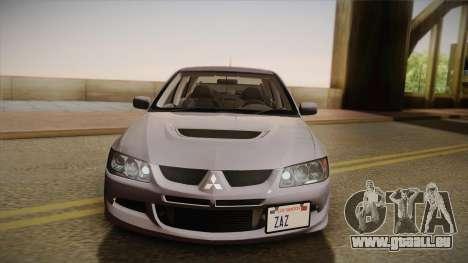 Mitsubishi Lancer GSR Evolution VIII 2003 für GTA San Andreas Rückansicht