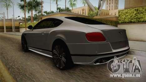 Bentley Continental GT Speed 2016 pour GTA San Andreas sur la vue arrière gauche