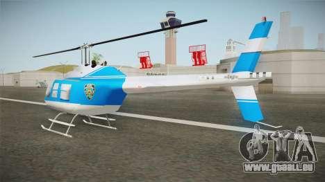 Bell 206 NYPD Helicopter pour GTA San Andreas sur la vue arrière gauche