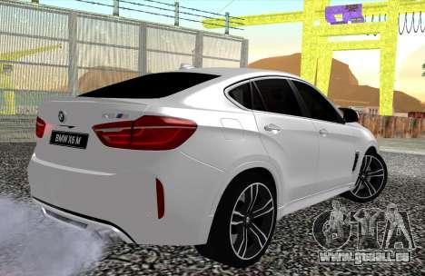BMW X6M F86 pour GTA San Andreas laissé vue
