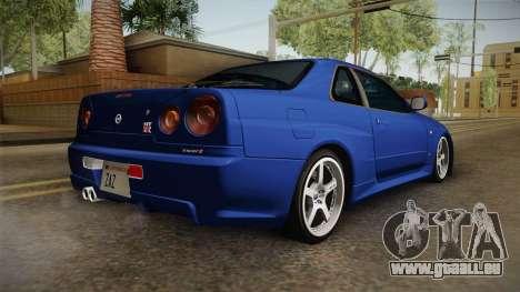 Nissan Skyline GT-R34 Tunable pour GTA San Andreas laissé vue