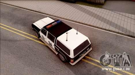 Police Rancher 4 Doors pour GTA San Andreas vue arrière