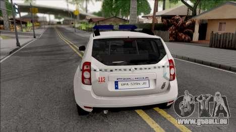 Renault Duster Spanish Police pour GTA San Andreas sur la vue arrière gauche