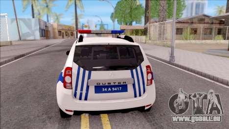 Renault Duster Turkish Police Patrol Car pour GTA San Andreas sur la vue arrière gauche