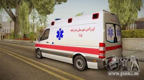 Mercedes-Benz Sprinter Iranian Ambulance pour GTA San Andreas laissé vue
