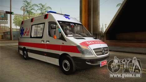Mercedes-Benz Sprinter Iranian Ambulance pour GTA San Andreas sur la vue arrière gauche