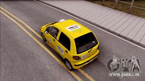 Daewoo Matiz Taxi für GTA San Andreas Rückansicht