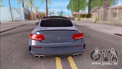 Mercedes-Benz C63S AMG Coupe 2016 v2 pour GTA San Andreas sur la vue arrière gauche